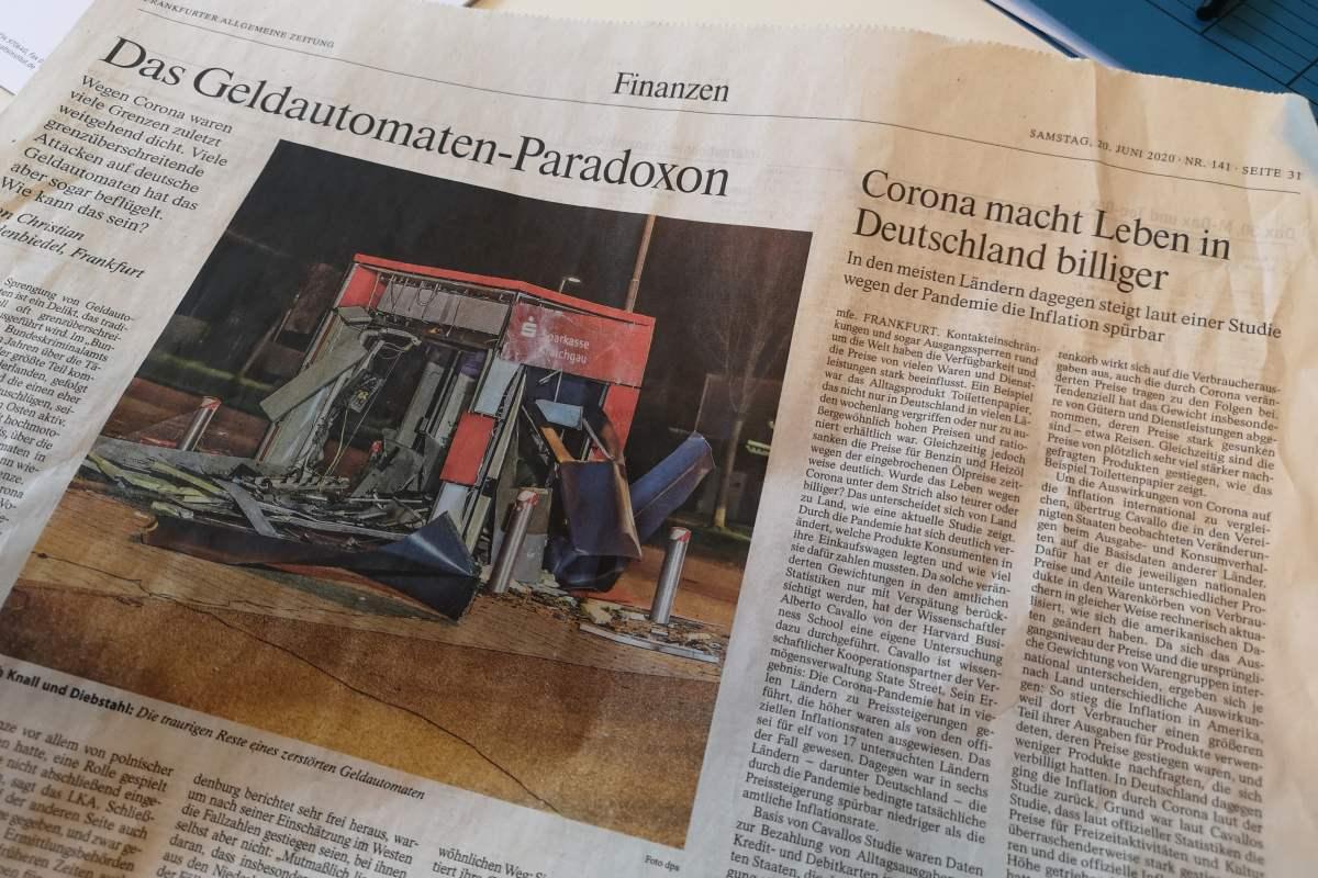 In Deutschland sprengen Kriminelle 100 Geldautomaten pro Quartal